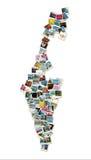 Kaart van Israël, collage die van reisfoto's ac wordt gemaakt Royalty-vrije Stock Fotografie