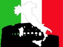 Kaart van Italië op Italiaanse vlag vector illustratie
