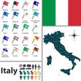 Kaart van Italië Stock Fotografie