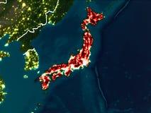 Kaart van Japan bij nacht Stock Foto's