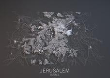 Kaart van Jeruzalem, Israël, satellietmening Stock Afbeeldingen