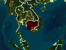 Kaart van Kambodja bij nacht Stock Afbeelding