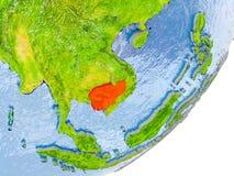 Kaart van Kambodja ter wereld Stock Afbeelding