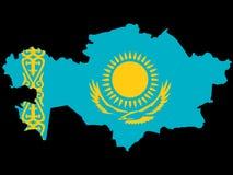 Kaart van Kazachstan Stock Fotografie