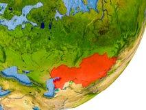 Kaart van Kazachstan ter wereld Stock Fotografie