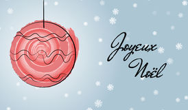 Kaart van Kerstmis de Franse groeten met waterverfborstel Royalty-vrije Stock Afbeeldingen