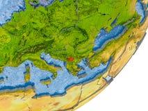 Kaart van Kosovo ter wereld Royalty-vrije Stock Afbeelding