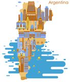 Kaart van land Argentinië met de bouw en beroemd monument royalty-vrije illustratie