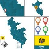 Kaart van Lima met Districten stock foto