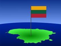 Kaart van Litouwen met vlag royalty-vrije illustratie