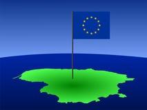 Kaart van Litouwen met vlag stock illustratie