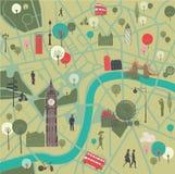 Kaart van Londen met oriëntatiepunten Stock Afbeelding