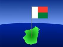 Kaart van Madagascar met vlag Stock Afbeeldingen