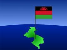 Kaart van Malawi met vlag Royalty-vrije Stock Fotografie