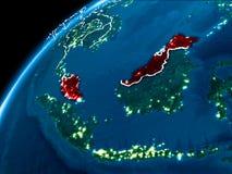 Kaart van Maleisië bij nacht Stock Afbeeldingen