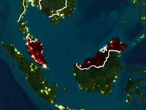 Kaart van Maleisië bij nacht Royalty-vrije Stock Fotografie