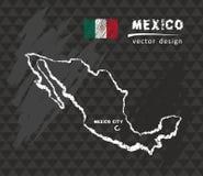 Kaart van Mexico, de vectorillustratie van de Krijtschets royalty-vrije illustratie