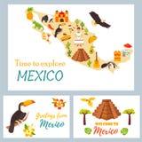 Kaart van Mexico met bestemmingen, dierenoriëntatiepunten royalty-vrije illustratie