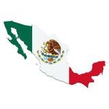 Kaart van Mexico met vlag op wit Stock Afbeelding