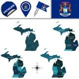 Kaart van Michigan met Gebieden royalty-vrije illustratie