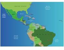 Kaart van Midden-Amerika Stock Afbeelding
