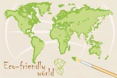 Kaart van milieuvriendelijke wereld Stock Foto's