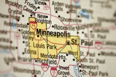 Kaart van Minneapolis, Minnesota Stock Foto's