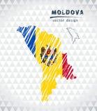 Kaart van Moldavië met hand getrokken schets binnen kaart Vector illustratie stock illustratie