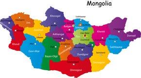 Kaart van Mongolië Stock Afbeeldingen