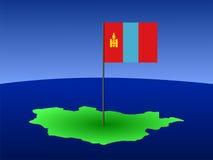 Kaart van Mongolië met vlag Royalty-vrije Stock Afbeelding
