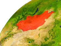 Kaart van Mongolië in rood op bol Stock Afbeelding