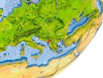 Kaart van Montenegro ter wereld Royalty-vrije Stock Foto's