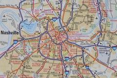 Kaart van Nashville, TN Royalty-vrije Stock Foto