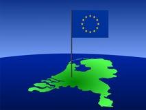 Kaart van Nederland met vlag royalty-vrije illustratie