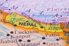 Kaart van Nepal stock afbeeldingen