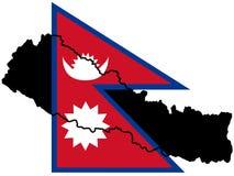 Kaart van Nepal Stock Afbeelding