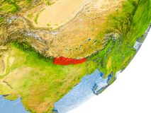 Kaart van Nepal ter wereld Stock Fotografie