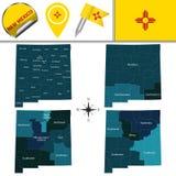 Kaart van New Mexico met Gebieden stock illustratie