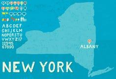 Kaart van New York met pictogrammen Royalty-vrije Stock Foto's