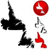 Kaart van Newfoundland, Canada stock illustratie