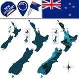 Kaart van Nieuw Zeeland Stock Afbeeldingen