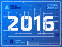 Kaart van Nieuwjaar 2016 als blauwdruktekening Royalty-vrije Stock Fotografie