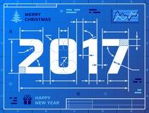 Kaart van Nieuwjaar 2017 als blauwdruktekening Stock Foto