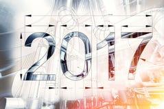 Kaart van Nieuwjaar 2017 als blauwdruktekening met beeld wordt gecombineerd dat Stock Fotografie