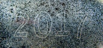 Kaart van Nieuwjaar 2017 als blauwdruktekening met beeldequpment die wordt gecombineerd Stock Foto's