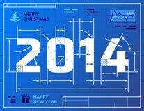 Kaart van Nieuwjaar 2014 zoals blauwdruktekening Stock Afbeeldingen