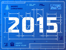 Kaart van Nieuwjaar 2015 zoals blauwdruktekening Stock Foto