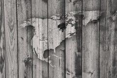 Kaart van Noord-Amerika op doorstaan hout Stock Foto