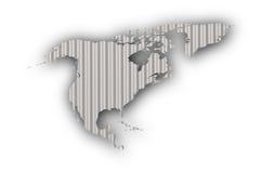 Kaart van Noord-Amerika op golfijzer Stock Foto