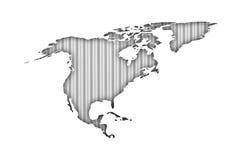 Kaart van Noord-Amerika op golfijzer Stock Afbeelding